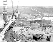 1962 - Cowans Ford Dam under construction.